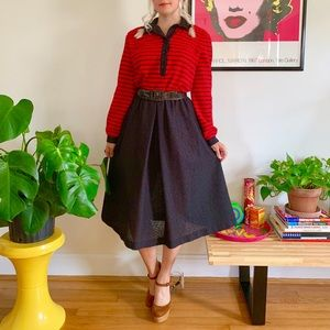 Vintage 80s red black striped knit dress L
